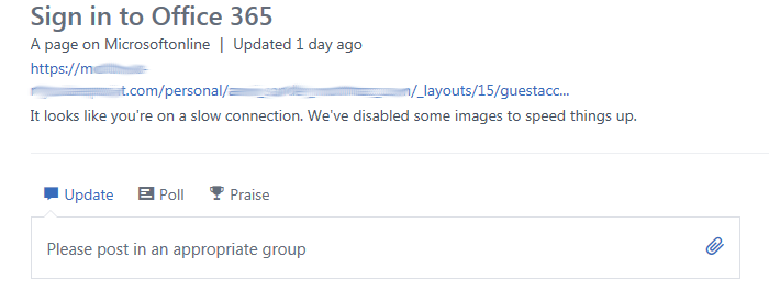 basic page in yammer