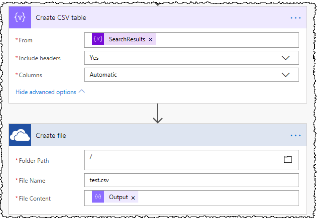 SharePoint Search results as a CSV file using Microsoft Flow