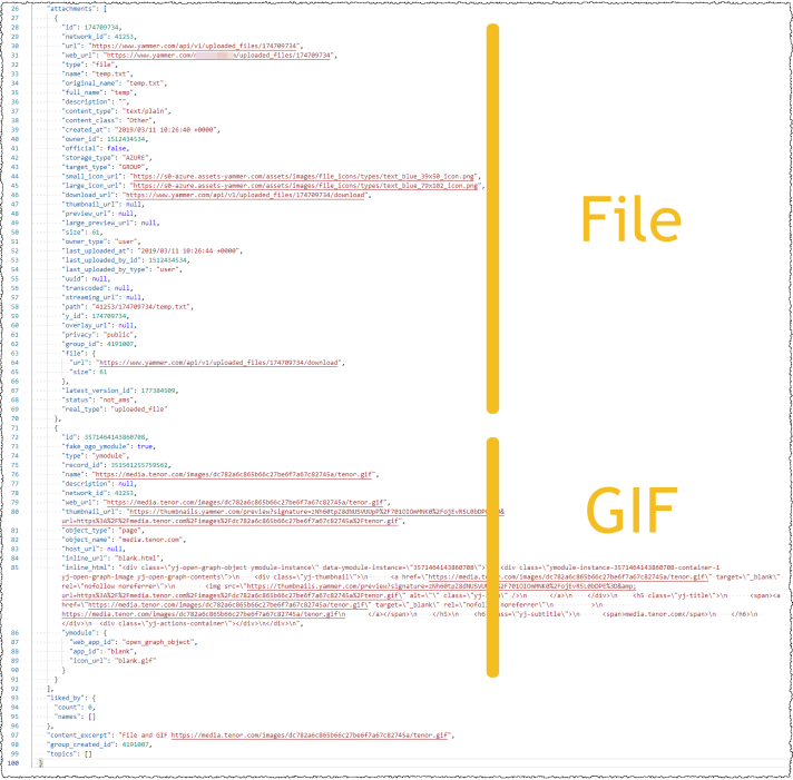 The image shows the different schemas used for Files and GIFs