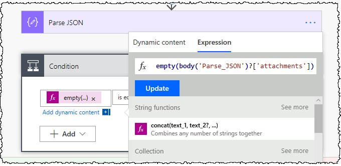 (Left side of the Condition) Using an Empty expression to check if the attachment array is empty