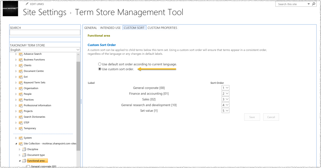 Adjusting the sort order in the Term Store Management tool using the Custom Sort tab. Normally terms will be displayed in alphabetical order.