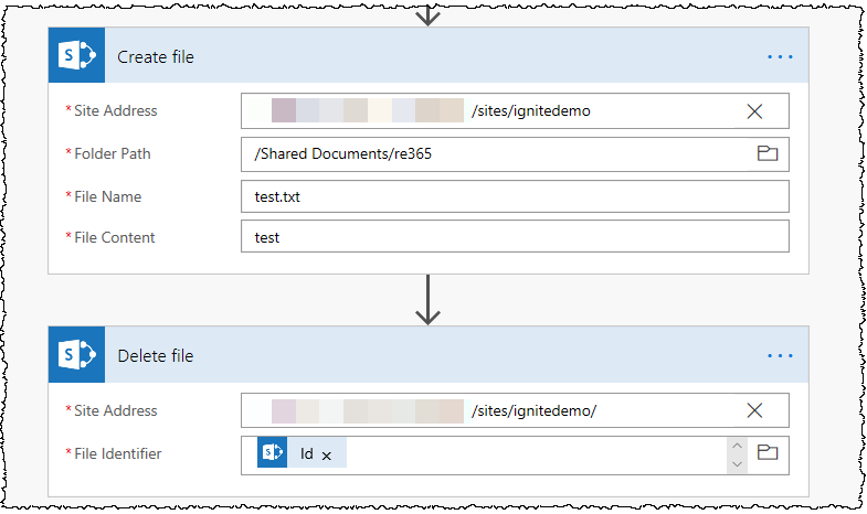 Two SharePoint Flow actions (1) Create File (2) Delete File