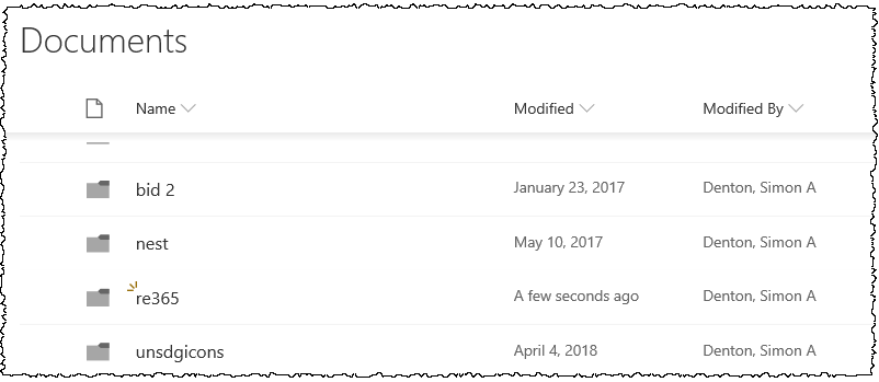 Shows new folder in SharePoint