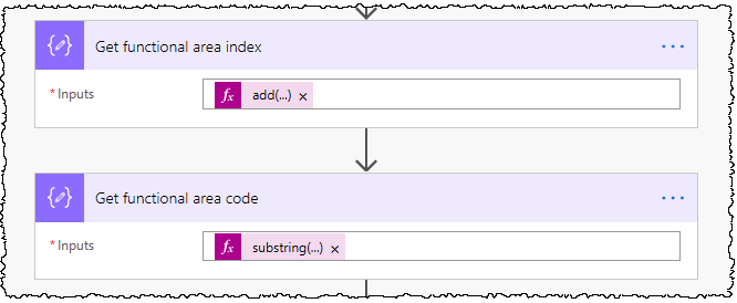 Two Compose actions are used. The first calculates the position of the [ used in the field. The section extracts the index number