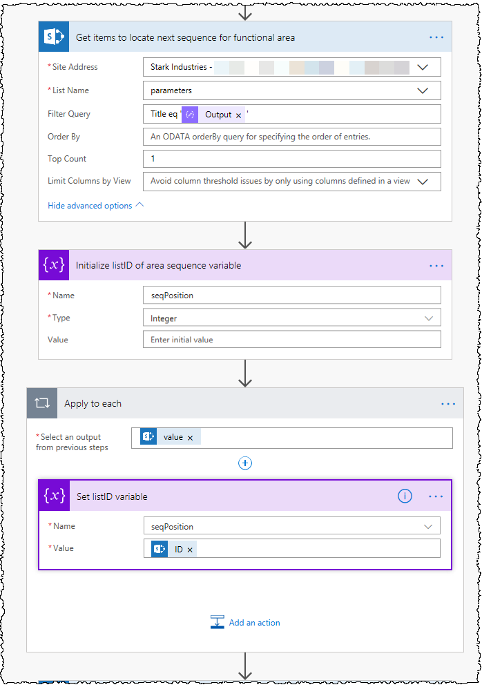 Three actions are needed. The first is Get Items from SharePoint. The second initializes an integer variable. The final one sets the value of the variable. The third is wrapped in an Apply to each action