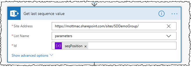 A SharePoint Get Item action is used to get the next value in the sequence using the seqPosition variable as the Id