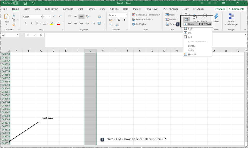 The images shows to the steps to autofill a column in Excel. Select the entire column > Select autofill down from the ribbon