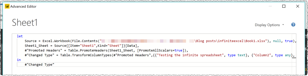The image shows an out of the box query to get data from Excel. It is generated using Get data > Excel