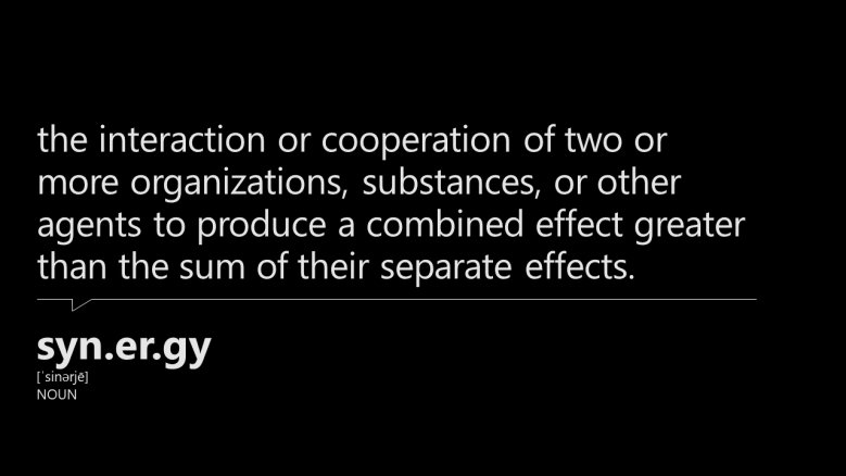 image presents a dictionary definition of the word synergy